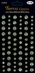Rhinestone Glitter Stickers - 6-10mm - Clear