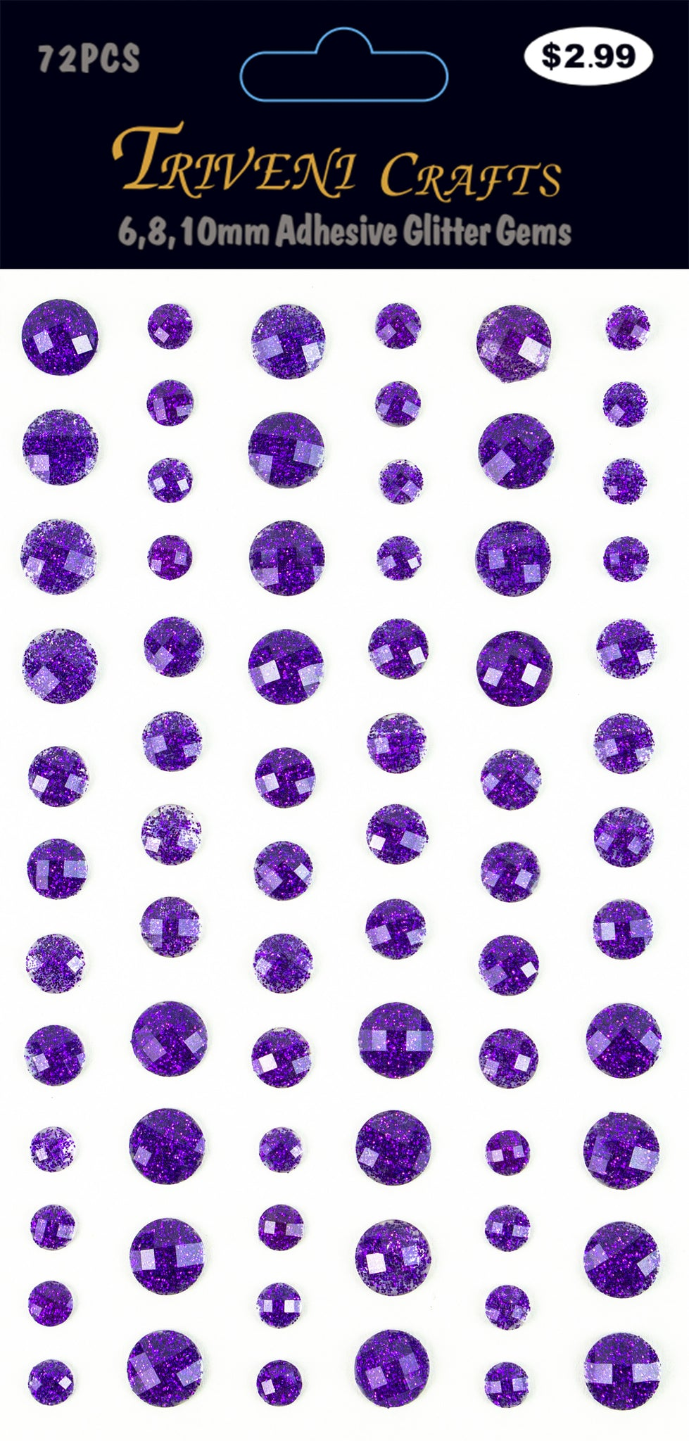 Rhinestone Glitter Stickers - 6-10mm - Purple