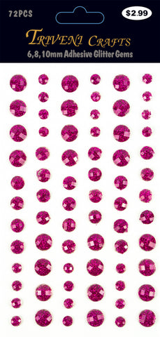 Rhinestone Glitter Stickers - 6-10mm - Pink