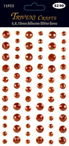 Rhinestone Glitter Stickers - 6-10mm - Red