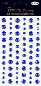 Rhinestone Glitter Stickers - 6-10mm - Blue