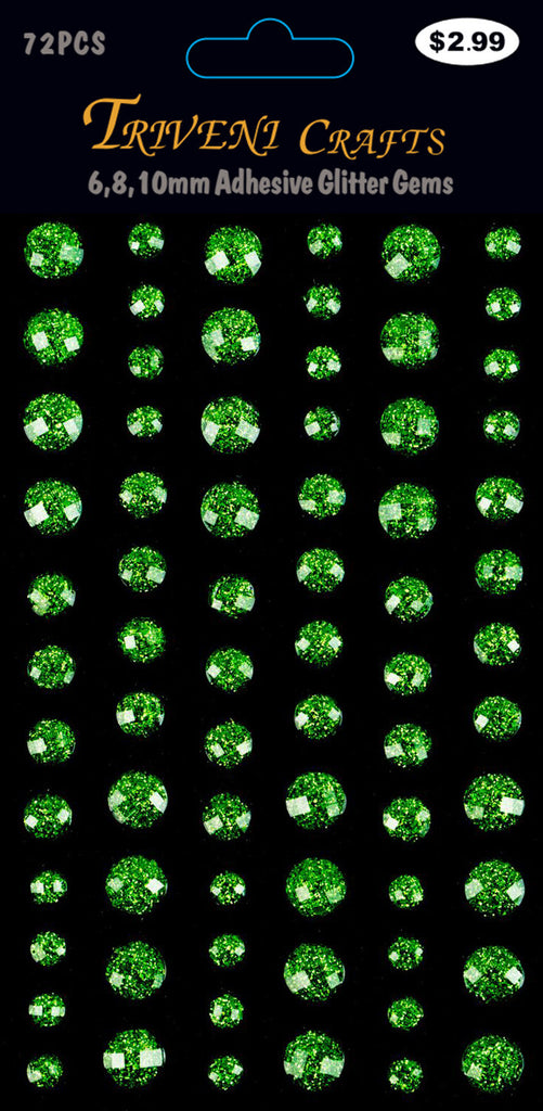 Rhinestone Glitter Stickers - 6-10mm - Peridot