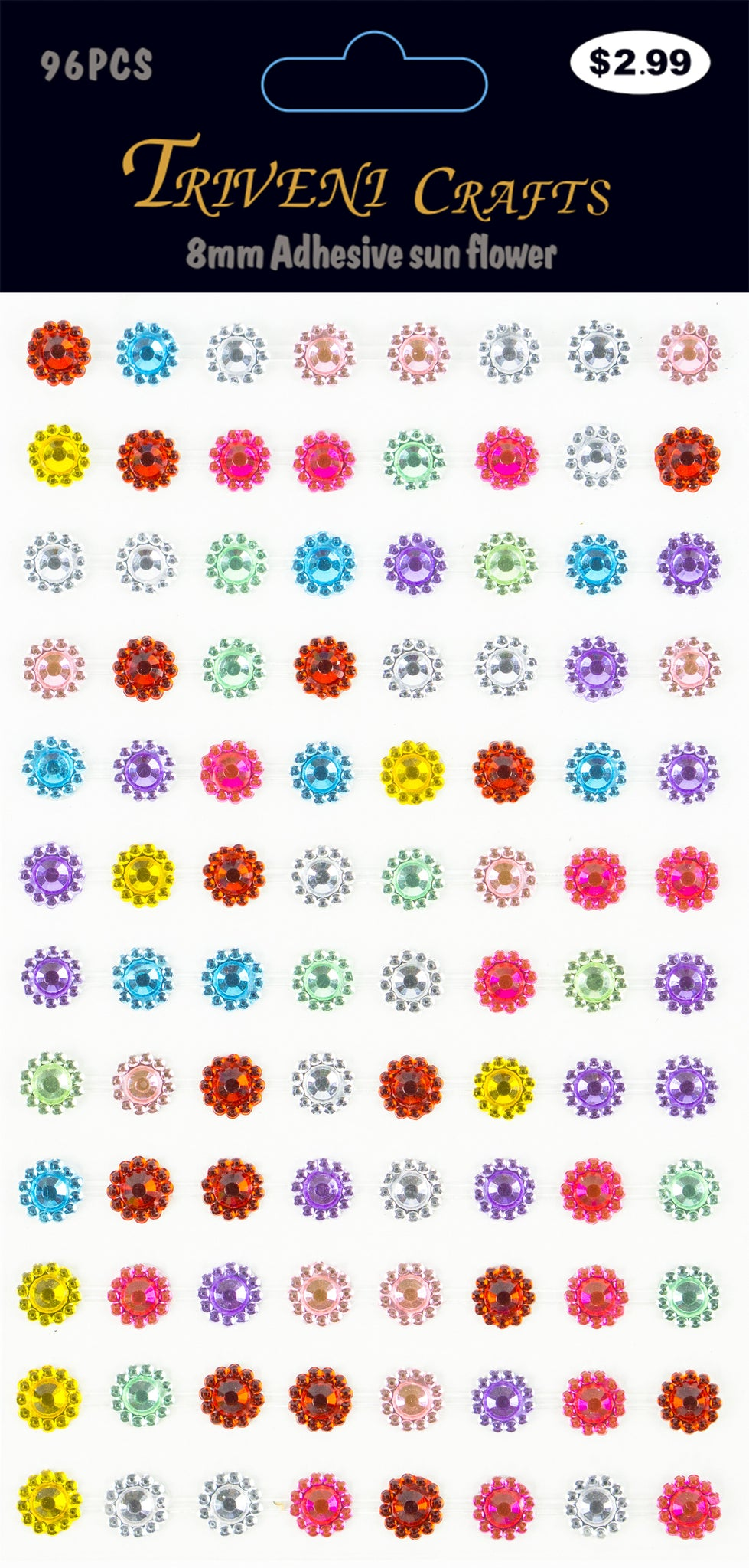Rhinestone Sunflower - 8mm - Multi