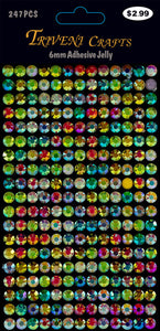 Pearl Faceted Jelly Stickers - 6mm - Multi