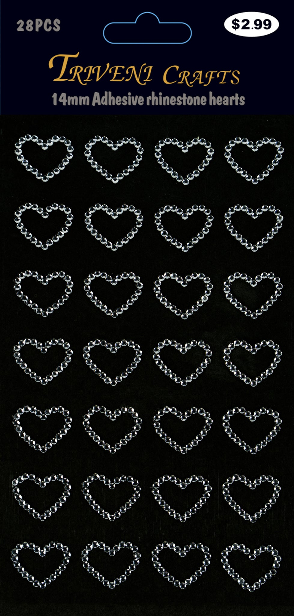 Rhinestone Heart Stickers - 14MM - Clear