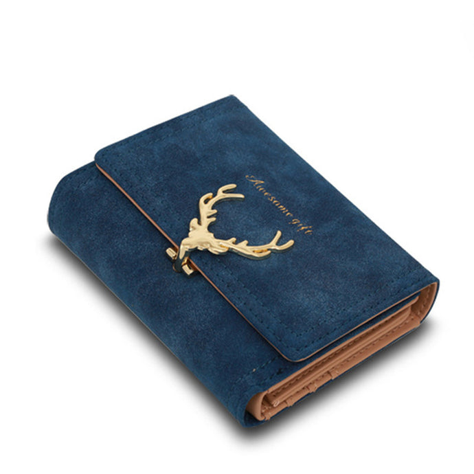 Leather wallet with suede effect and Deer clasp