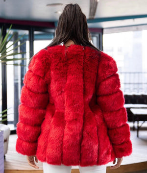 FAUX-Real Fur Ruby Red