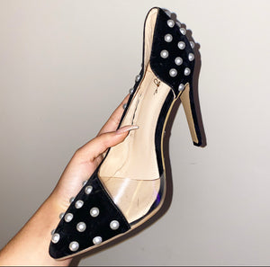 Black Velvet and Pearl Stilettos - size 39