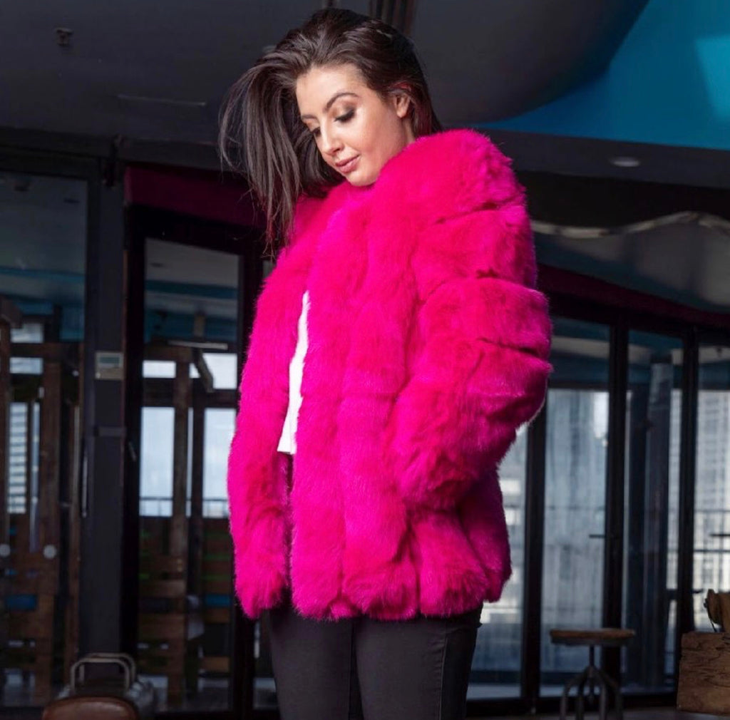 FAUX- Real Fur Hot Pink