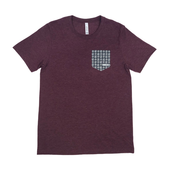 MoreBirdies Men's Burgundy Pocket T-Shirt