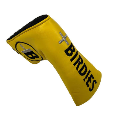 AM&E Yellow MoreBirdies Blade Putter Leather Headcover