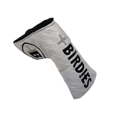 AM&E White MoreBirdies Hot Stamped Blade Putter Leather Headcover