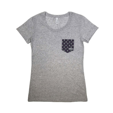 MoreBirdies Women's Light Gray Pocket T-Shirt
