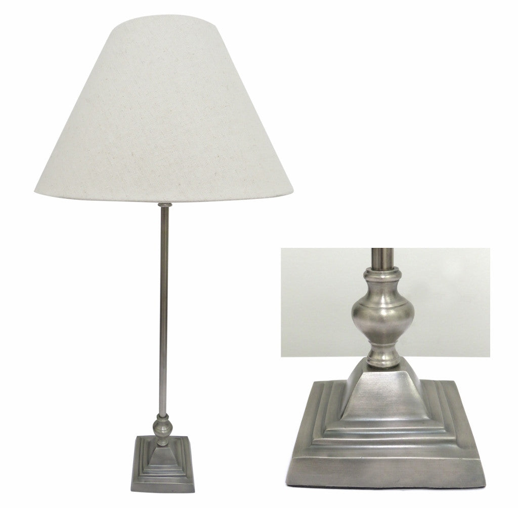 Brushed Pewter Style Lamp with Square Base