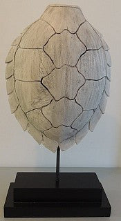 Wooden Turtleback - White Carved