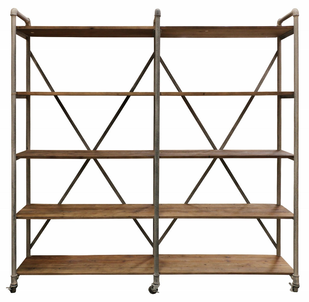 Recycled Pine And Steel Industrial Shelving Unit In Mudstone