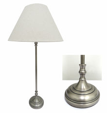 Brushed Pewter Style Lamp with Round Base