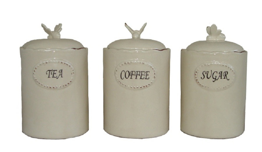 Bee Cream Canister Set of 3 Assorted