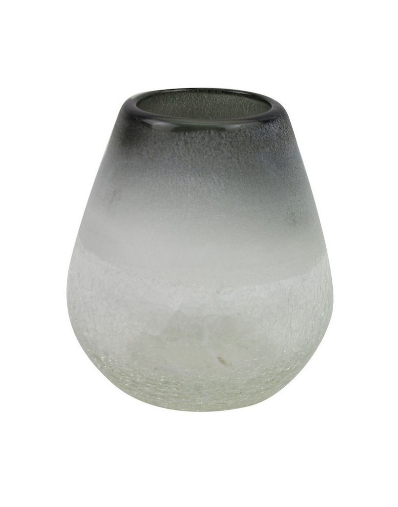Frosted Glass Vase - Grey/Clear