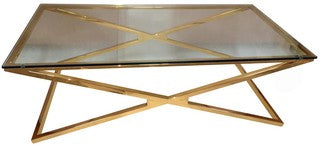 Coffee Table SS Gold Rectangle