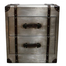 Trunk 2 Drawer Side Table Champagne