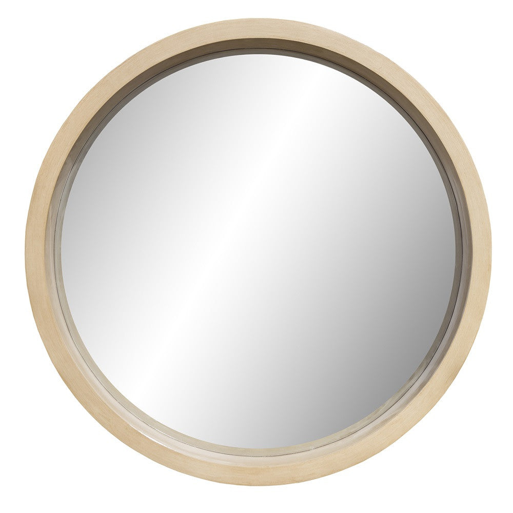 Round Wooden Look Bevelled Mirror