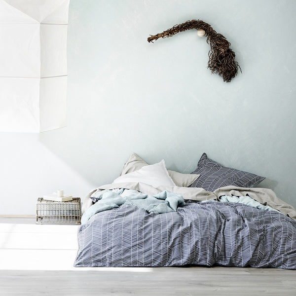 Feather Duvet Cover - Stone blue