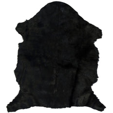 Goat Fur Rug Black