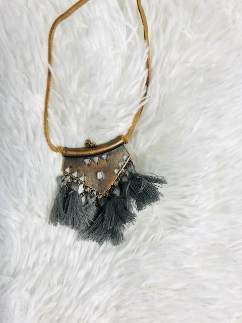 Gray Tassel Necklace