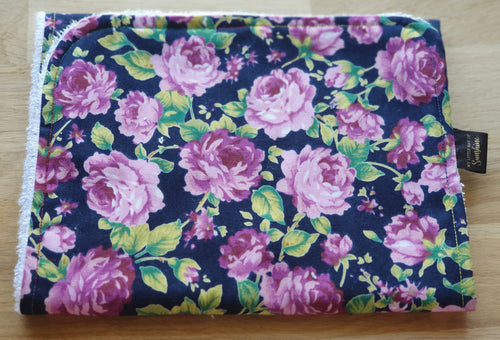Black Purple Floral Burp Cloth - large