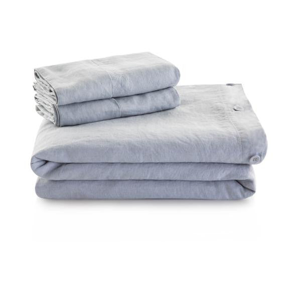 Linen Duvet Folded and stacked with Duvet pillow covers