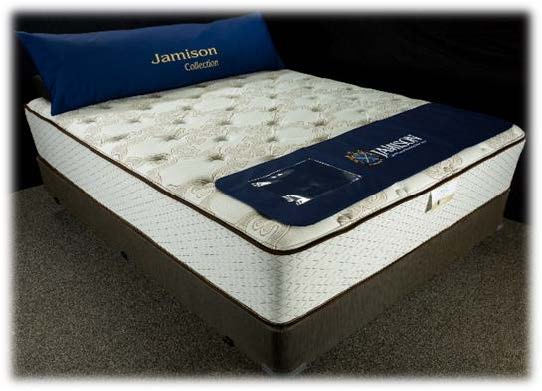 Jamison The Latex Collection hybrid mattress with coil spring bottom and latex top in firm