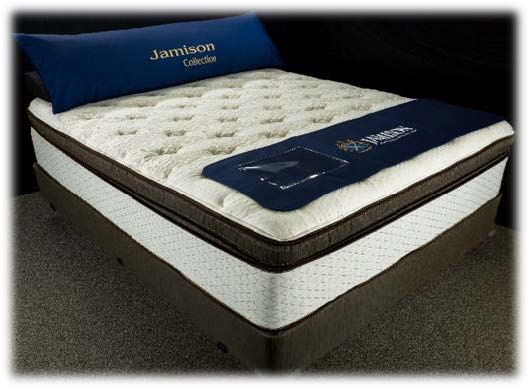 Jamison The Latex Collection hybrid mattress with coil spring bottom and latex top in super pillowtop