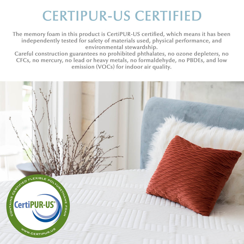 "14"" organic latex hybrid mattress is CERTIPUR-US certified making it a clean air bed"