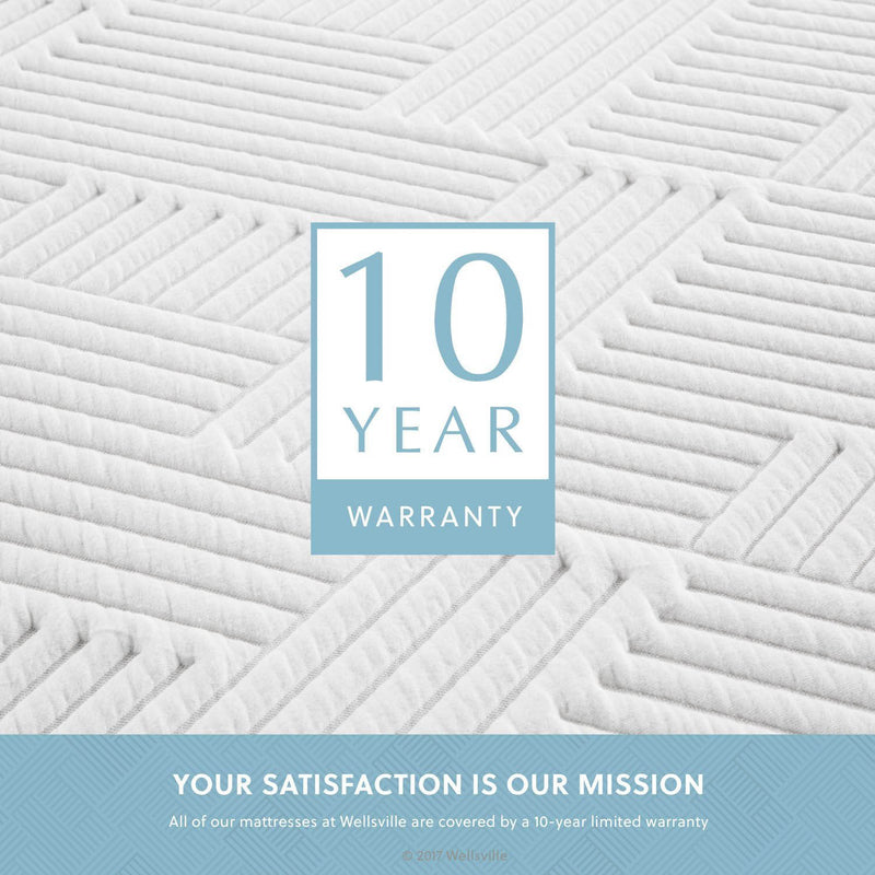 "Wellsville 14"" CarbonCool™ Memory Foam Mattress has a 10 year warranty"