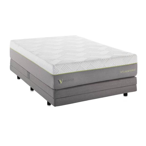 "14"" organic latex hybrid mattress on an adjustable bed base"