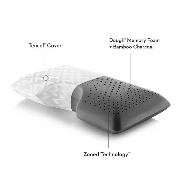 Shoulder Zoned Dough® Bamboo Charcoal Pillow - Shop Wellsville Mattresses, pillows, bedding & bedroom accessories