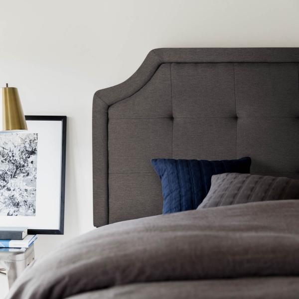 Scooped Squared Tufted Upholstered Headboard