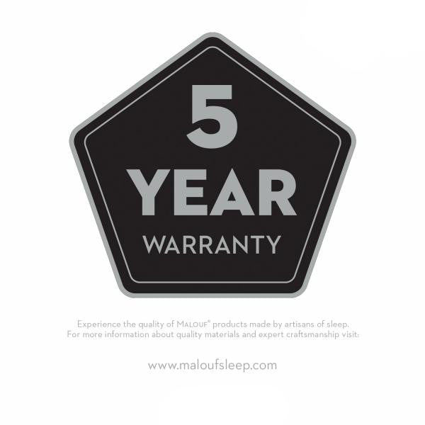 Low Profile Adjustable Bed Frame has a 5 year warranty