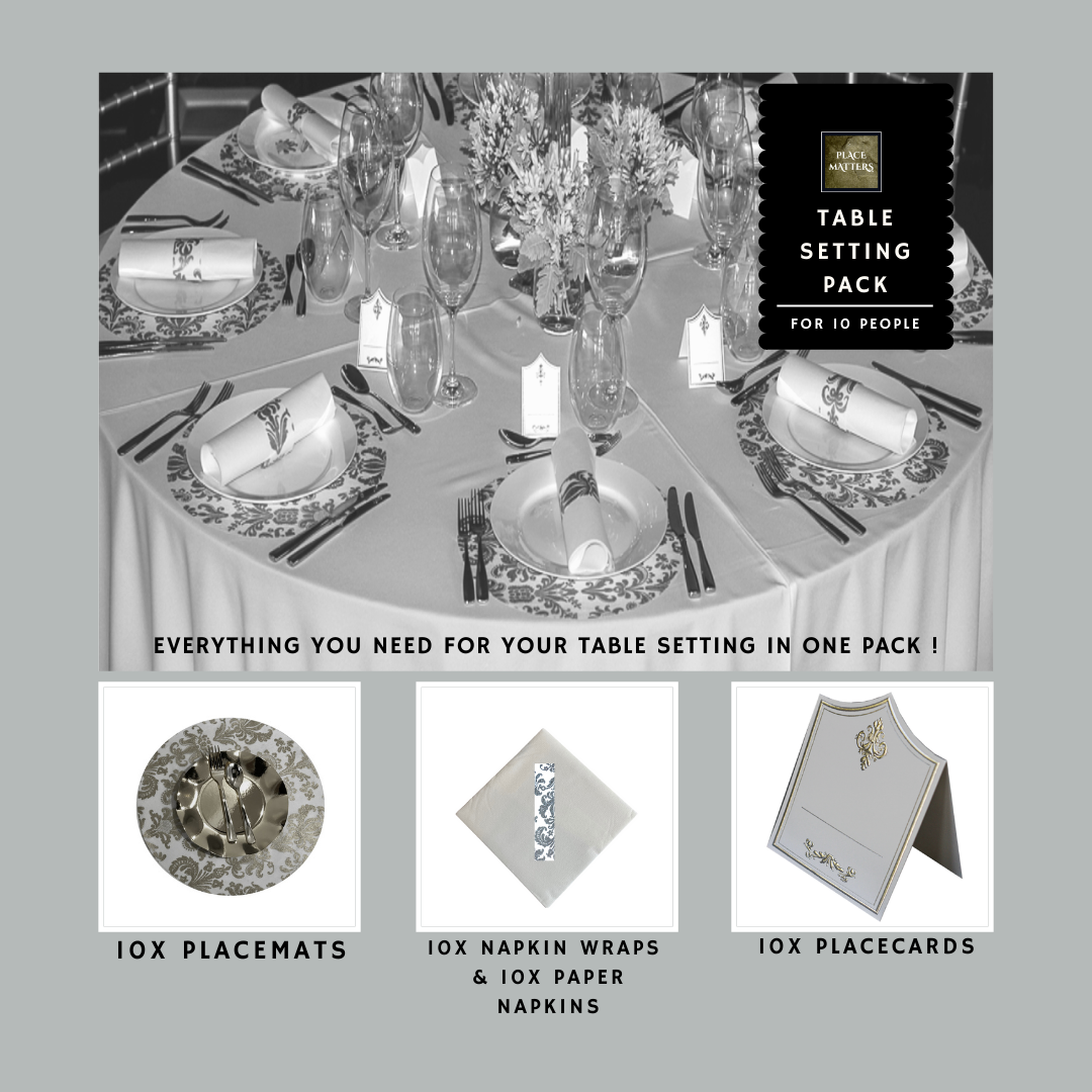 Silver Table Setting Pack for 10 People (Royale Silver Round) - Place Matters