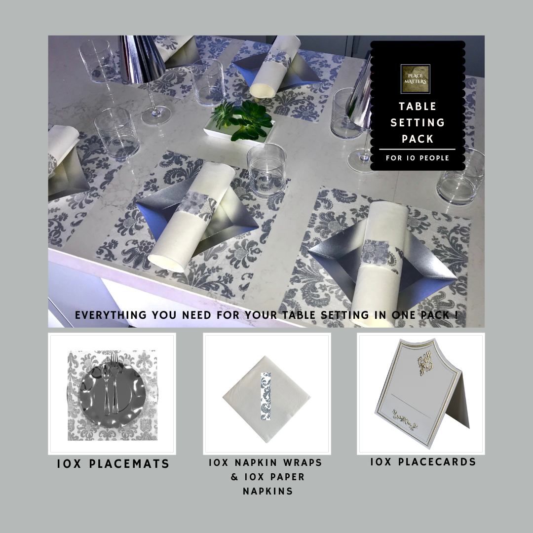 Silver Table Setting Pack for 10 People (Royale Silver Square) - Place Matters