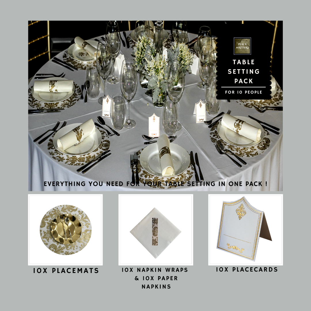 Gold Table Setting Pack for 10 People (Royale Gold Round) - Place Matters