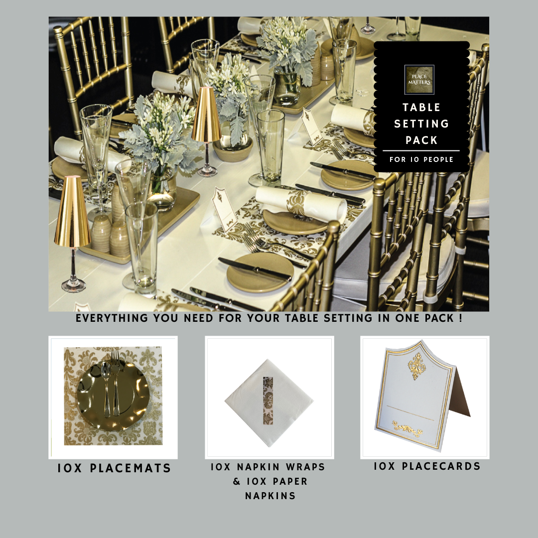 Gold Table Setting Pack for 10 People (Royale Gold Square) - Place Matters