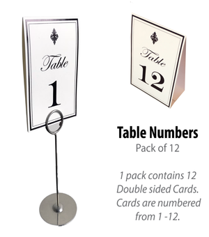 Black Table Numbers