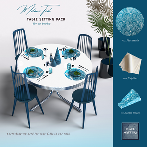 Blue Table Setting Pack for 10 People (Milano Teal Round) - Place Matters