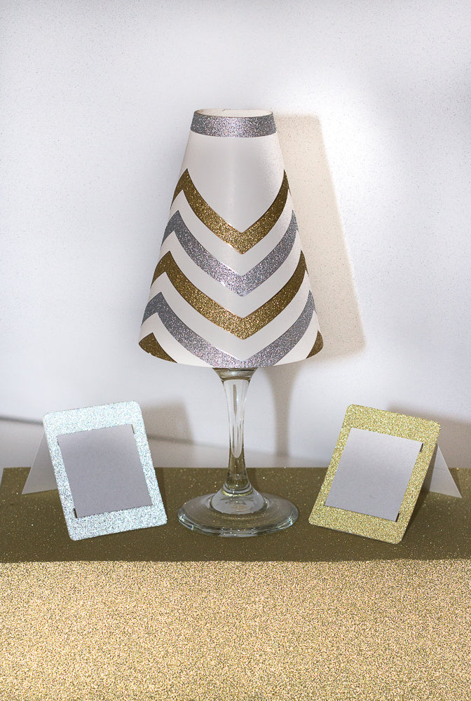 Chevron Wine Glass Lamp Shades (Pack of 6) - Place Matters