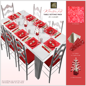 Christmas Table Setting Pack (Milano Square) Red - Place Matters