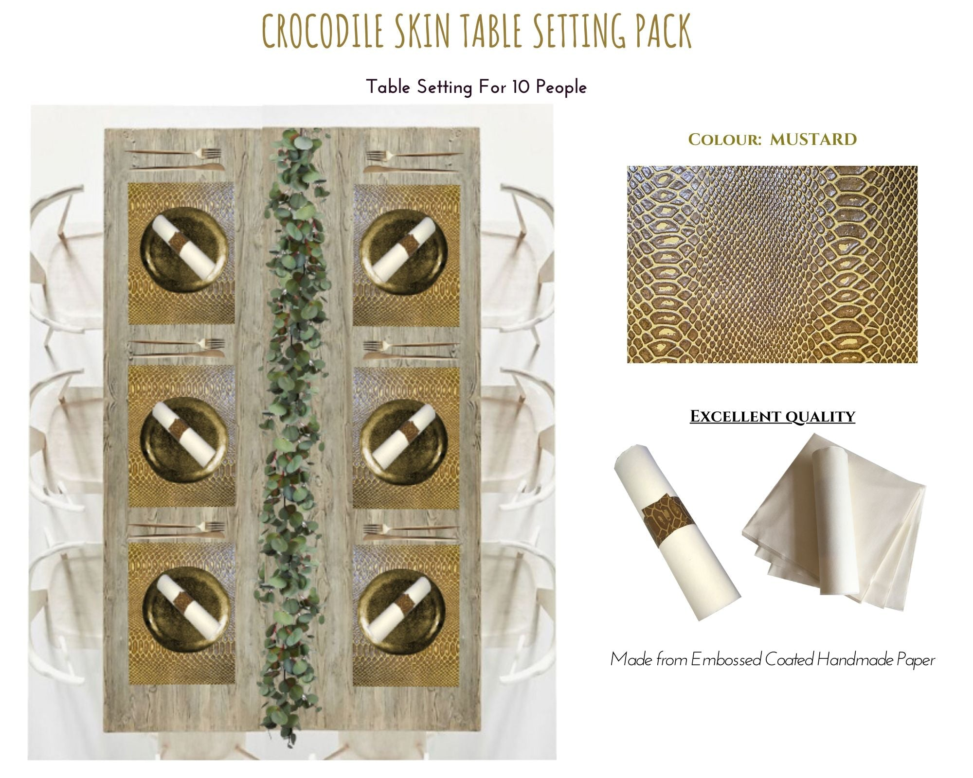 Faux Croc Design Paper Crocodile Skin Table Setting Pack - Place Matters