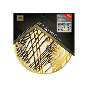 Gold Placemats (Weave) Pack of 20 (Round) - Place Matters
