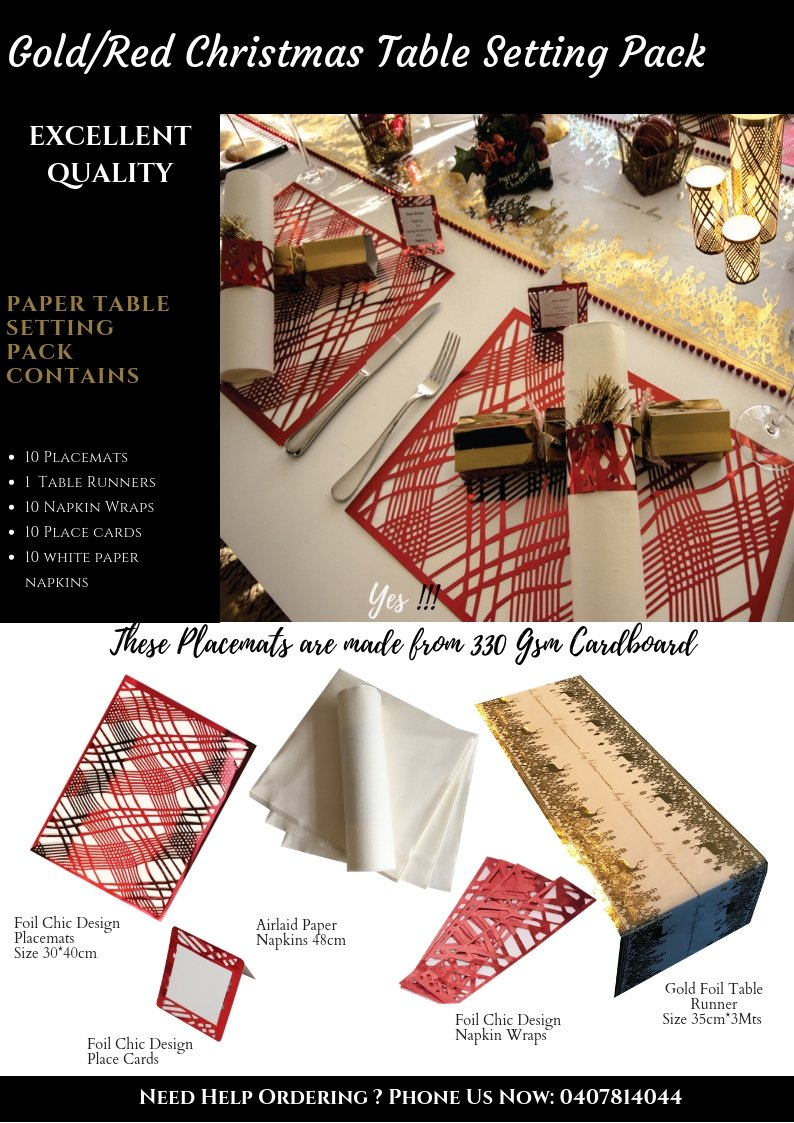Gold/Red  Christmas Table Setting Pack Reindeer Design - Place Matters